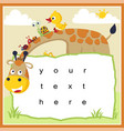 funny animals cartoon with paper template vector image
