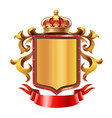 golden shield with crown and red ribbon vector image