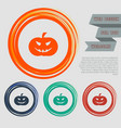 halloween pumpkin icon on the red blue green vector image