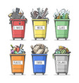 hand drawn sorted trash can set vector image