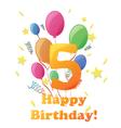 Happy Birthday five years no background vector image vector image