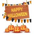 happy halloween poster jack lanterns gourn vector image vector image