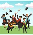 happy international graduates with diplomas vector image