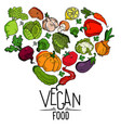 heart shape of fresh vegetables graphics vector image