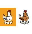 hen incubates eggs symbol chicken logo vector image vector image