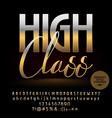 high class golden alphabet letters set vector image vector image