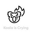 koala is crying on fire icon editable line vector image vector image