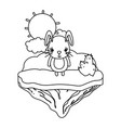line cute female rabbit in the float island vector image vector image