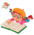 little girl is reading a book lying on her stomach vector image vector image