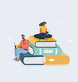 man and woman reading books sitting on many books vector image vector image