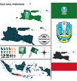 Map of East Java vector image vector image