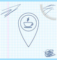map pointer with hot coffee cup line sketch icon vector image