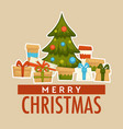 merry christmas winter holiday celebration pine vector image vector image