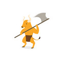minotaur with axe polearms in flat art vector image