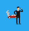 of businessman calling insurance company for vector image