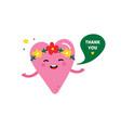 pink heart character saying thank you vector image vector image
