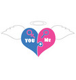 puzzle pieces heart with angel wings halo above vector image