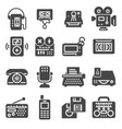 retro multimedia flat simple gray icons set vector image