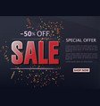 sale shop background with golden confetti vector image vector image