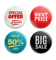 sales pin badges circled badging button 3d vector image vector image