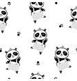 seamless childish pattern with cute panda boy in vector image vector image