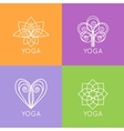 set outline yoga monograms and logos abstract vector image