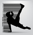 silhouette of a break dancer and barcode vector image vector image