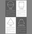 sphere cylinder cone and blunted cone shape vector image