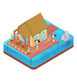 tropical bungalow with jet ski beach isometric vector image vector image