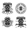 underwater diving school set of emblems vector image