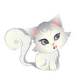 white kitten with blue eyes vector image vector image