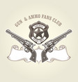 wild west emblem with pistols and sheriff badge vector image vector image