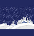 winter night with snow-covered village in the wood vector image