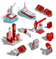 a set of isolated isometric vector image