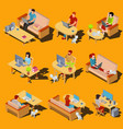 set of isometric icons of men and women vector image