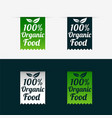 100 organic food labels set in ribbon style vector image vector image