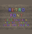 3d oblique retro font on wooden backgrond vector image vector image
