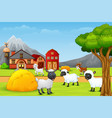 a group of sheep at the farm landscape vector image vector image