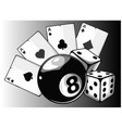 aces playing cards with number eight ball isolated vector image vector image