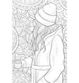 adult coloring bookpage a cute girl on the vector image vector image