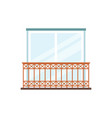 balcony with lace lattice and glass doors flat vector image