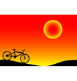 Bike and sunset vector image