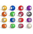 billiard pool balls collection snooker realistic vector image