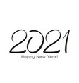 black number 2021 hand drawn vector image vector image