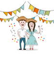 brazilian people celebrating festa junina with vector image