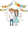 brazilian people celebrating festa junina with vector image vector image