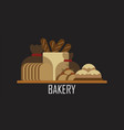 bread logo for bakery isolated on black background vector image