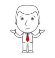 businessman line cartoon face confused expression vector image vector image
