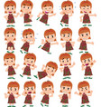 cartoon character white girl set with different vector image vector image