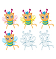 Cartoon chibi fantasy creatures vector image vector image